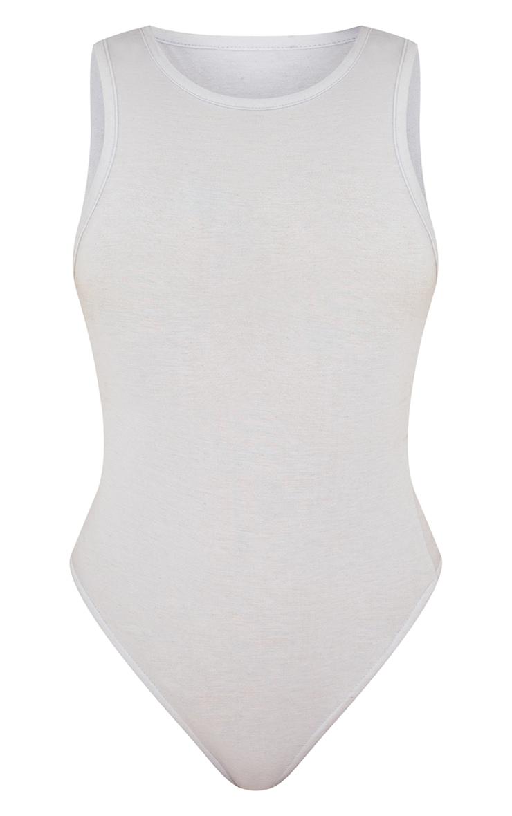 Grey Melange Racer Neck Sleeveless Bodysuit 5
