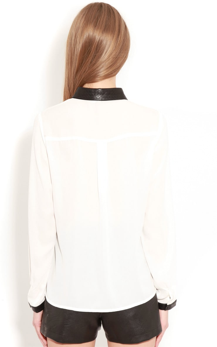 Frances White Chiffon Blouse With Faux Leather Collar 2