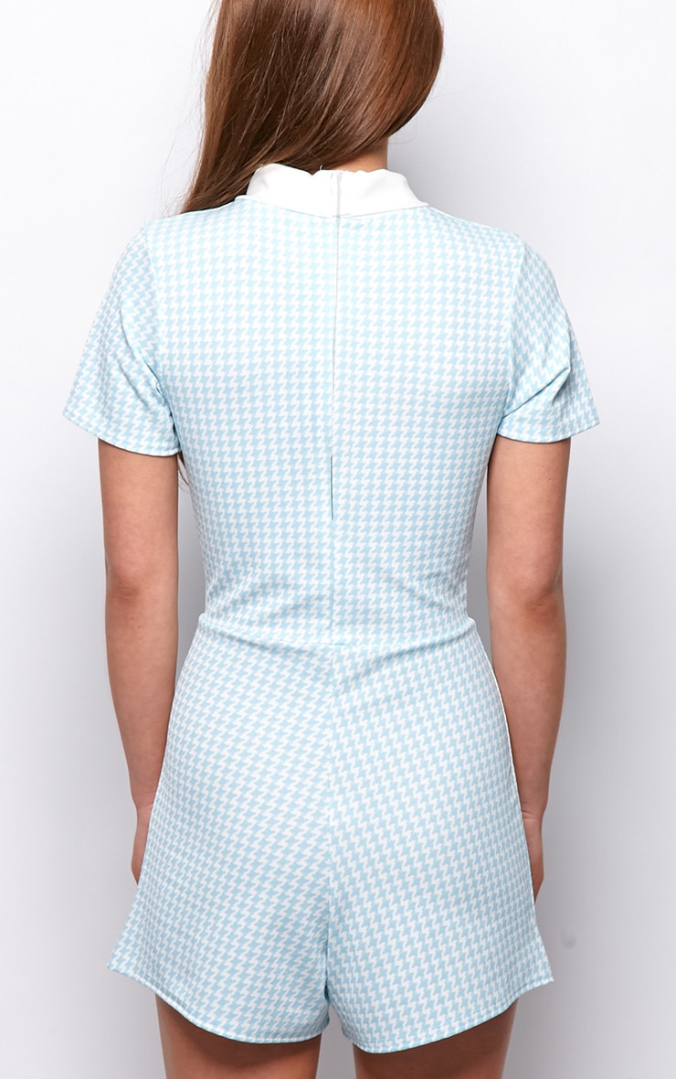 Sara Blue & White Dogtooth Playsuit 2
