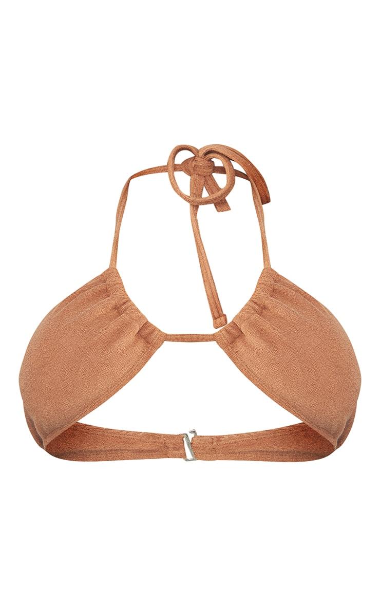 Brown Towel Cross Front Bikini Top 5