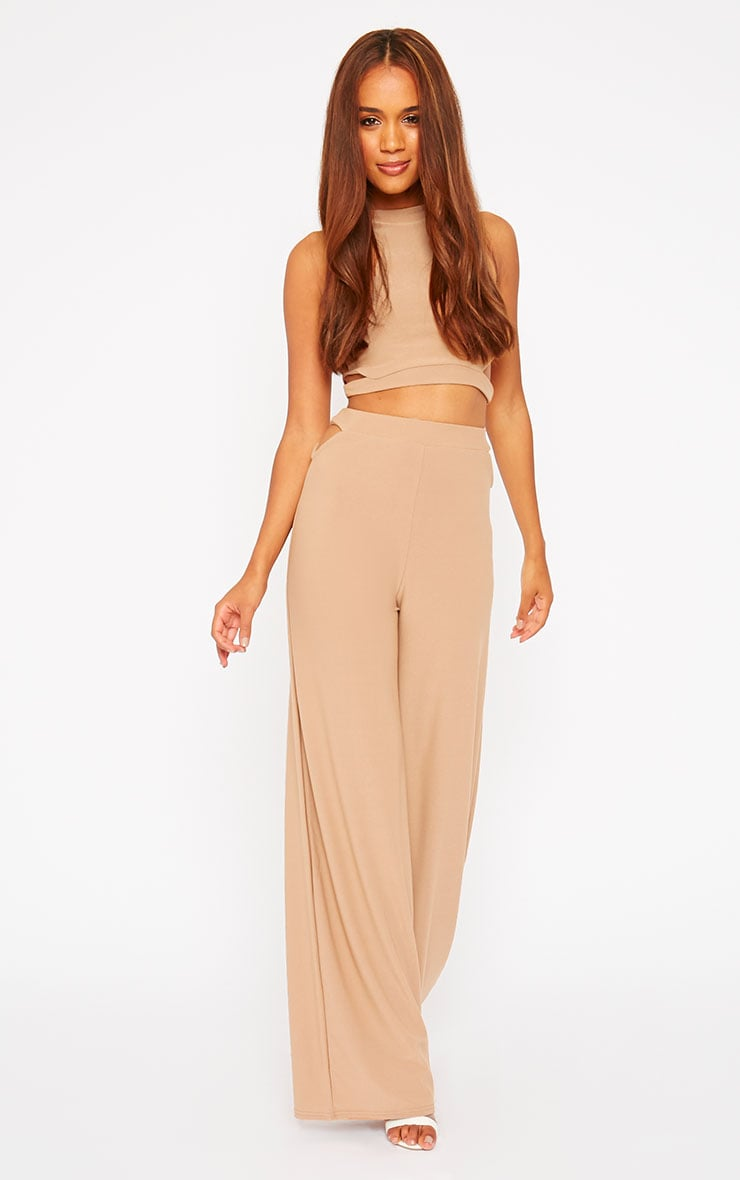 Elphina Camel Cut Out Palazzo Trousers 5