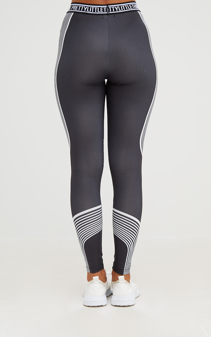 PRETTYLITTLETHING Black Contour Stripe Leggings 5