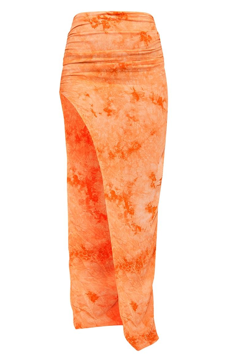 Orange Printed Woven Split Leg Maxi Skirt 5