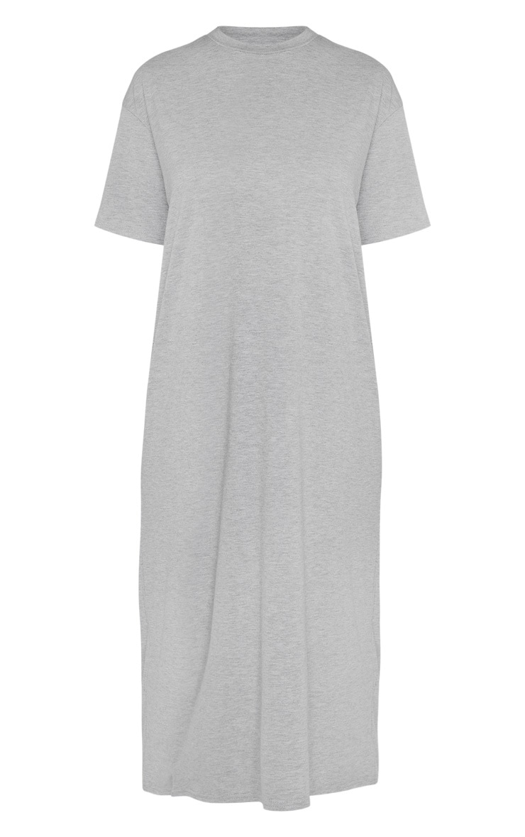 Tall Grey Marl Oversized Boxy Midi T-Shirt Dress 3