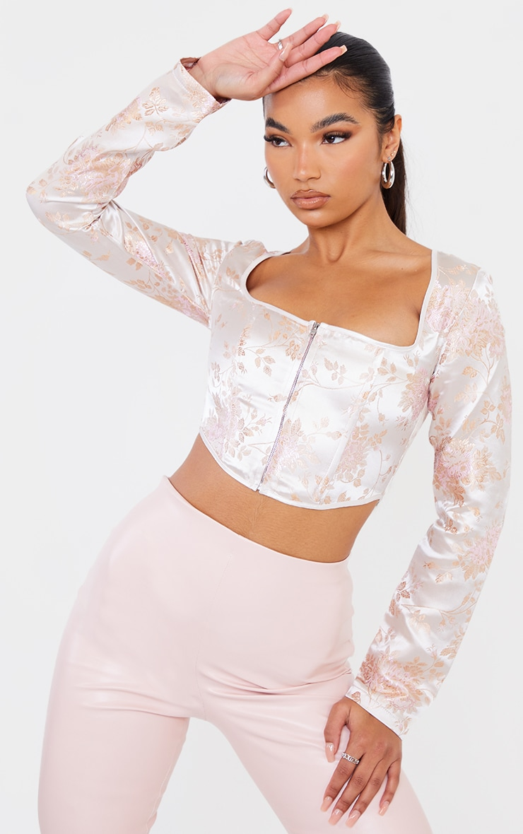 Light Pink Satin Print Zip Front Long Sleeve Corset 1