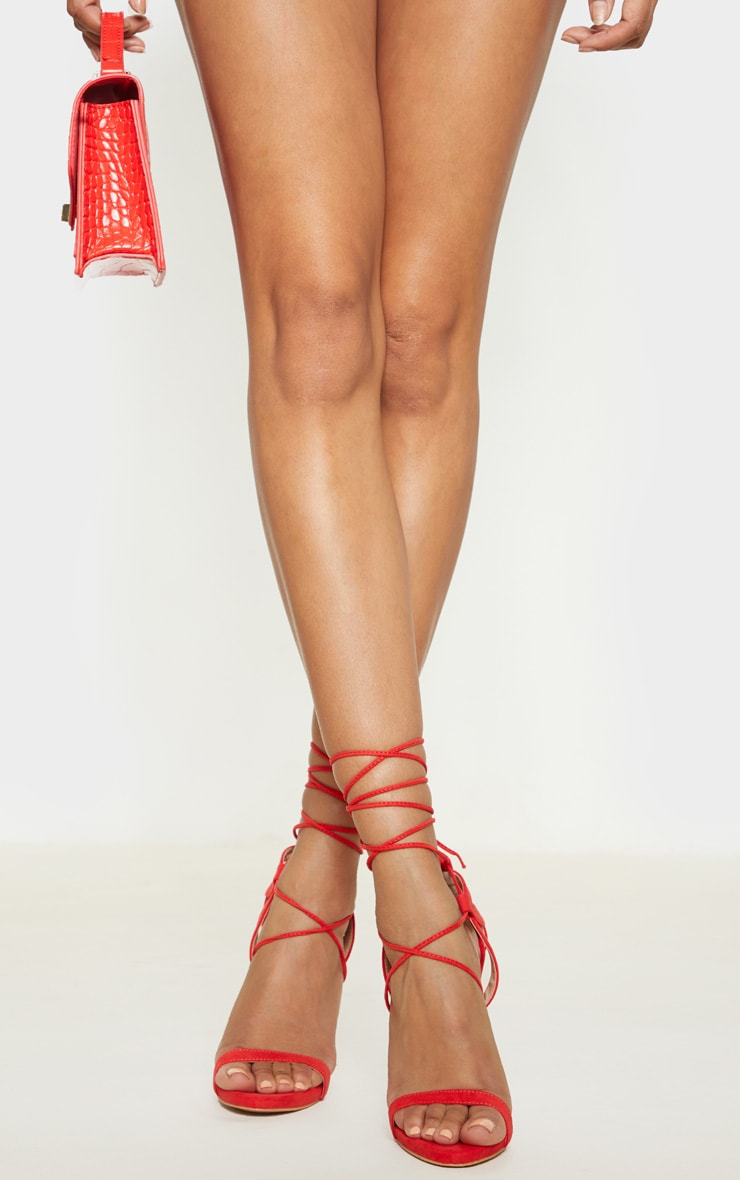 Red Lace up Sandals 2
