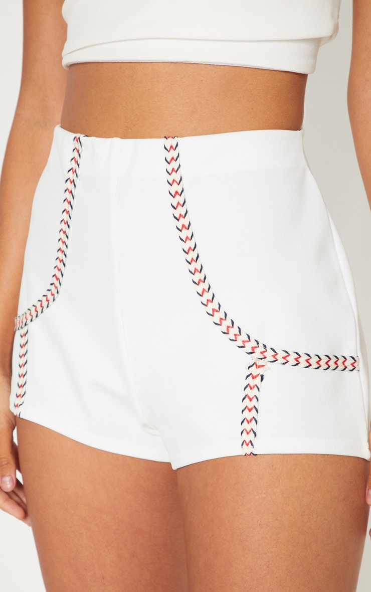 White Herringbone Tape Detail Short 6