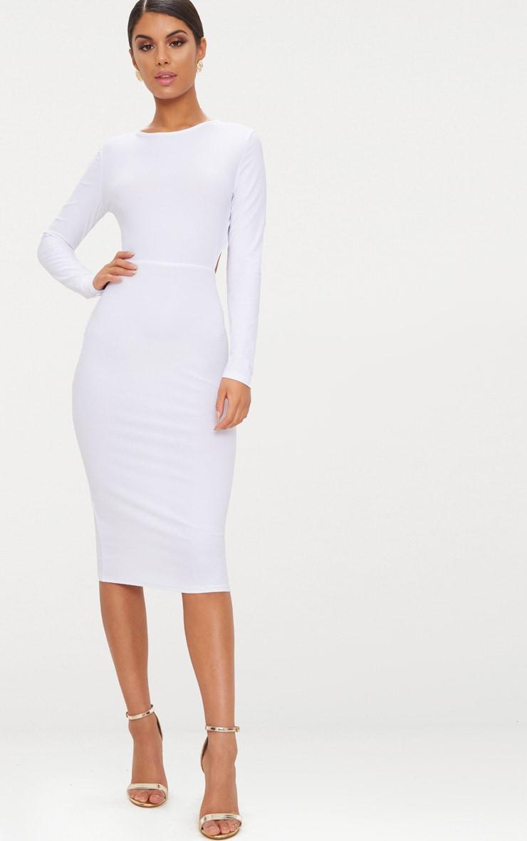 White Backless Bow Detail Midi Dress 2