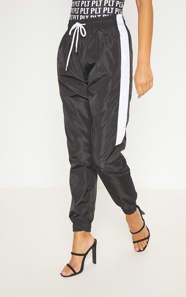 Black Contrast Panel Shell Trouser 2