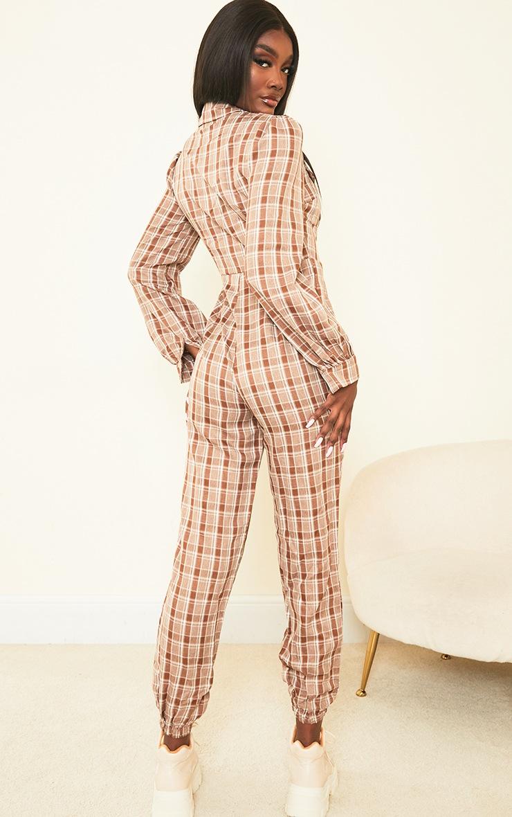 Tall Brown Check Pocket Detail Shirt Jumpsuit 2