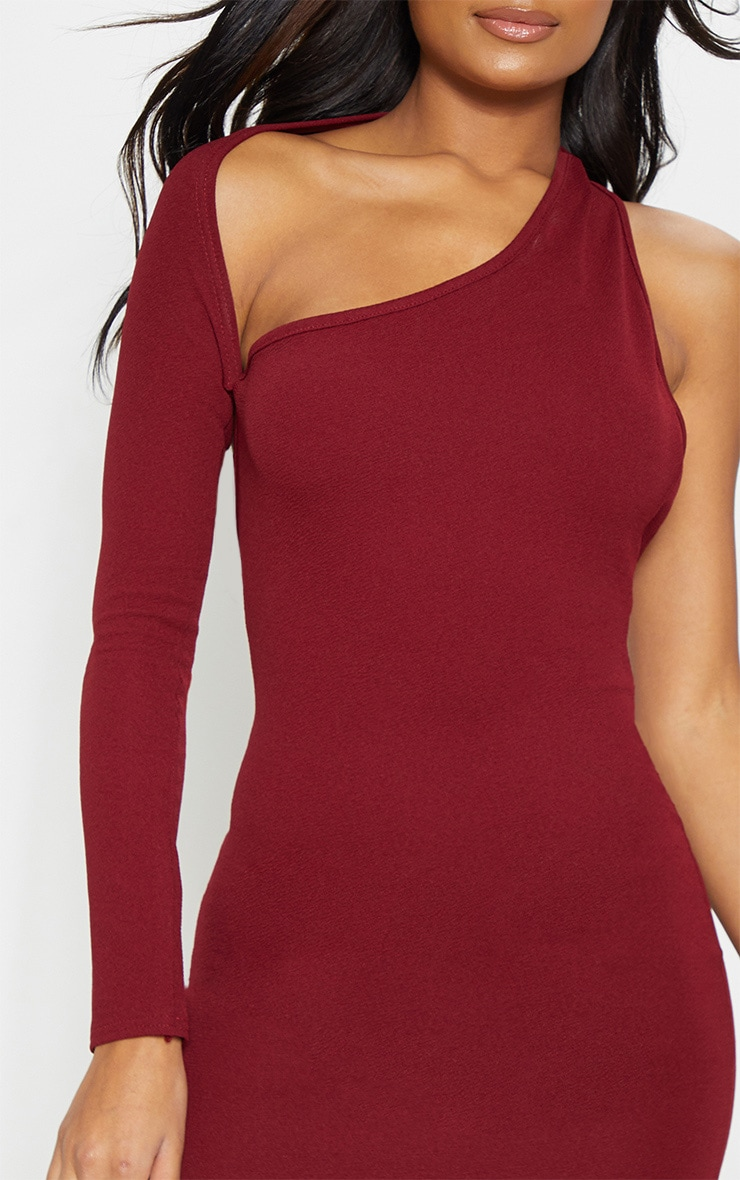 Burgundy One Shoulder Bodycon Dress 5