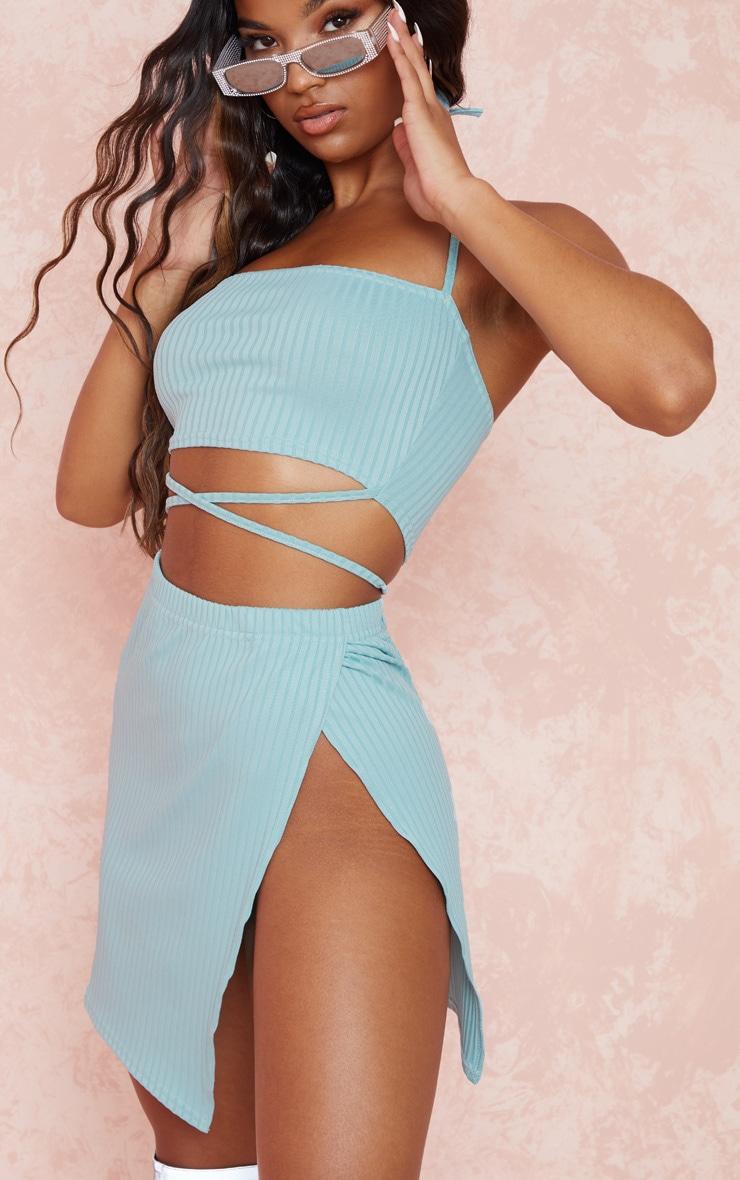 Dusty Blue Rib Strap Detail Crop & Split Side Skirt Set 5