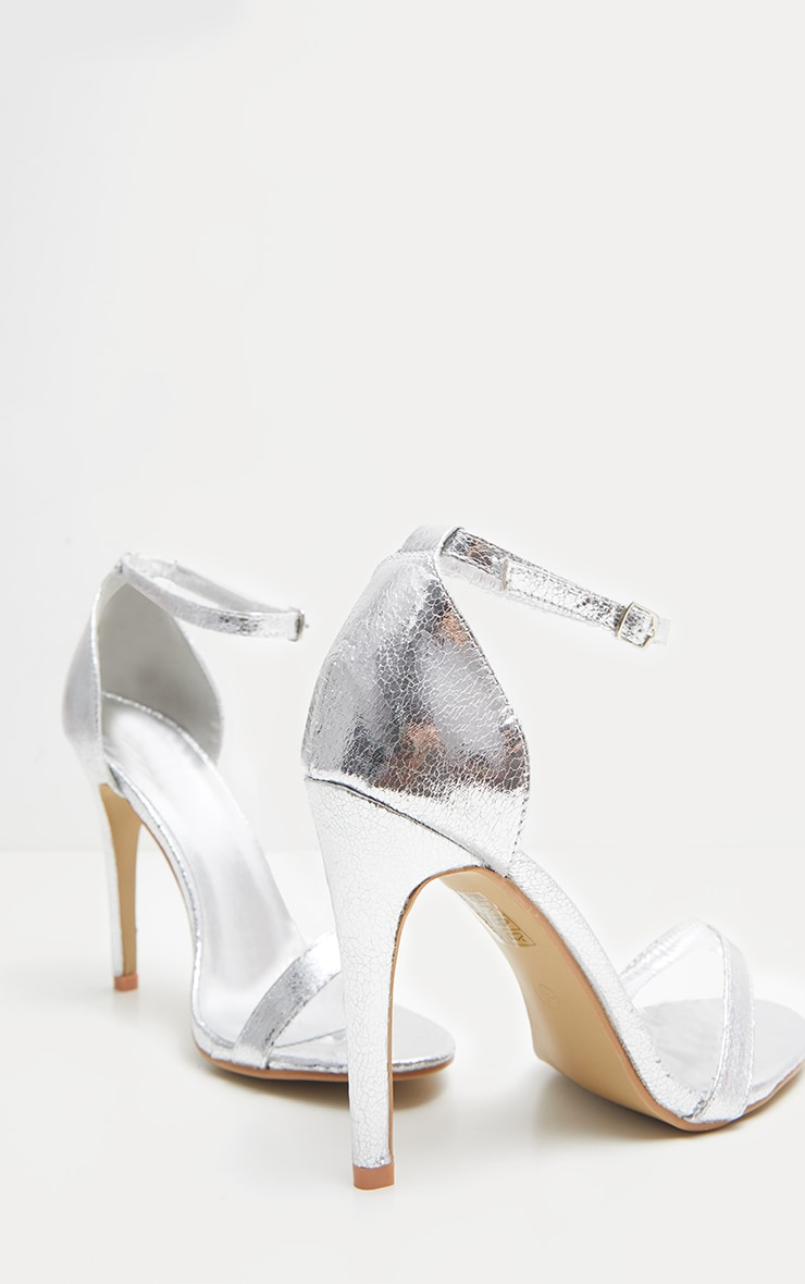 Sandales à talons & bride argentées métallisées 4