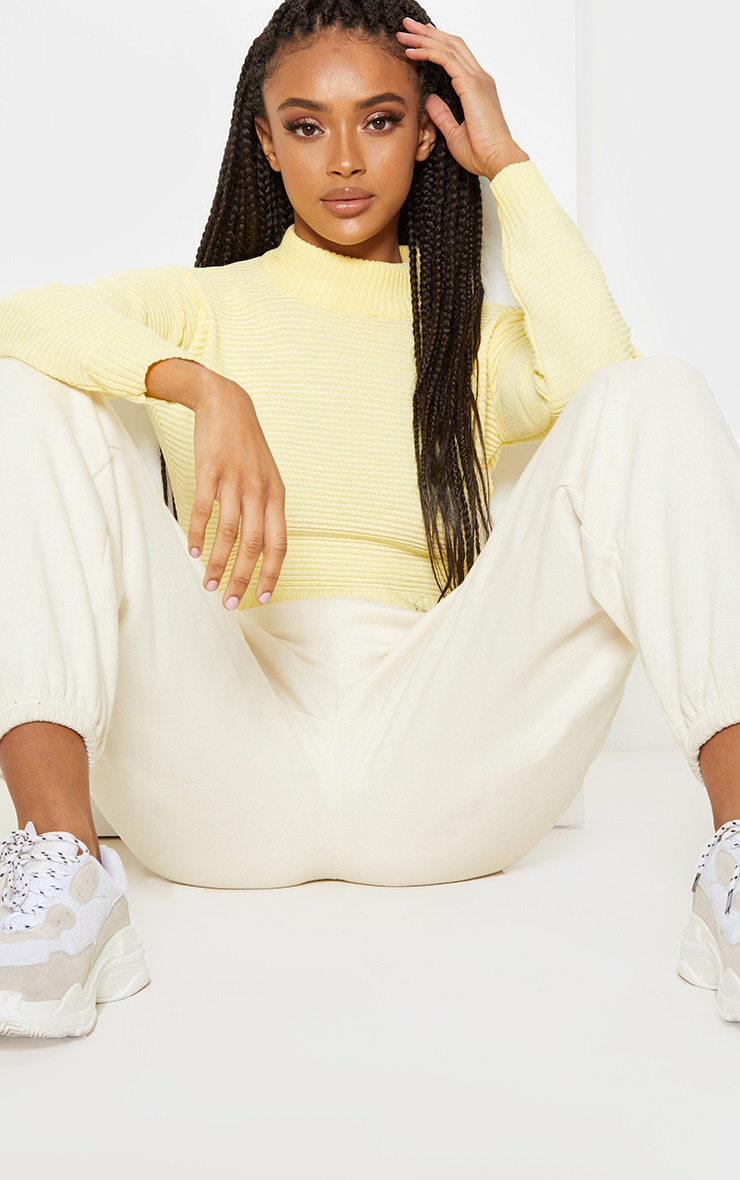 Pastel Yellow Ribbed Cropped Knitted Jumper  5