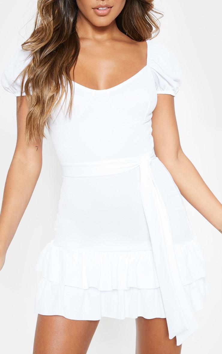 White Tie Waist Frill Hem Dress 5