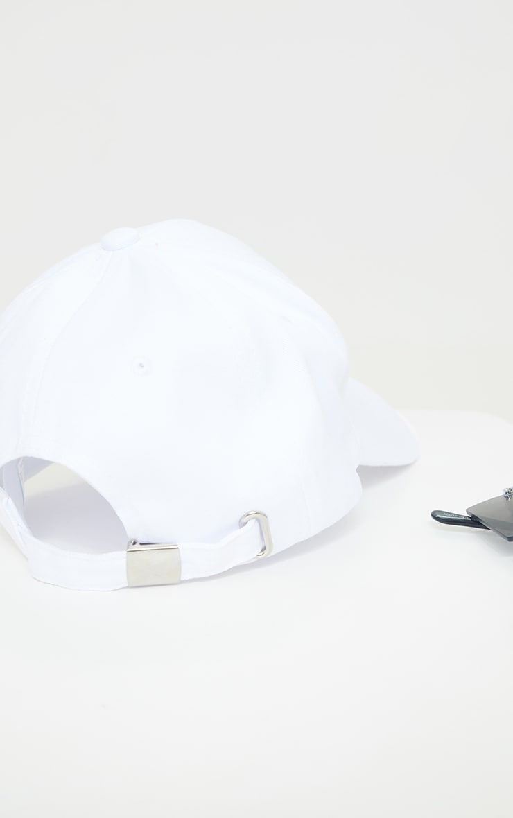 PRETTYLITTLETHING White Embroided Baseball Cap 3