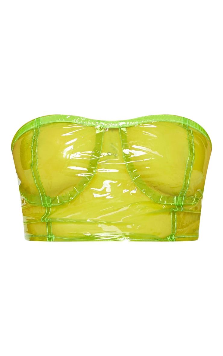 Petite Lime Transparent Zip Up Bandeau Bralet  3