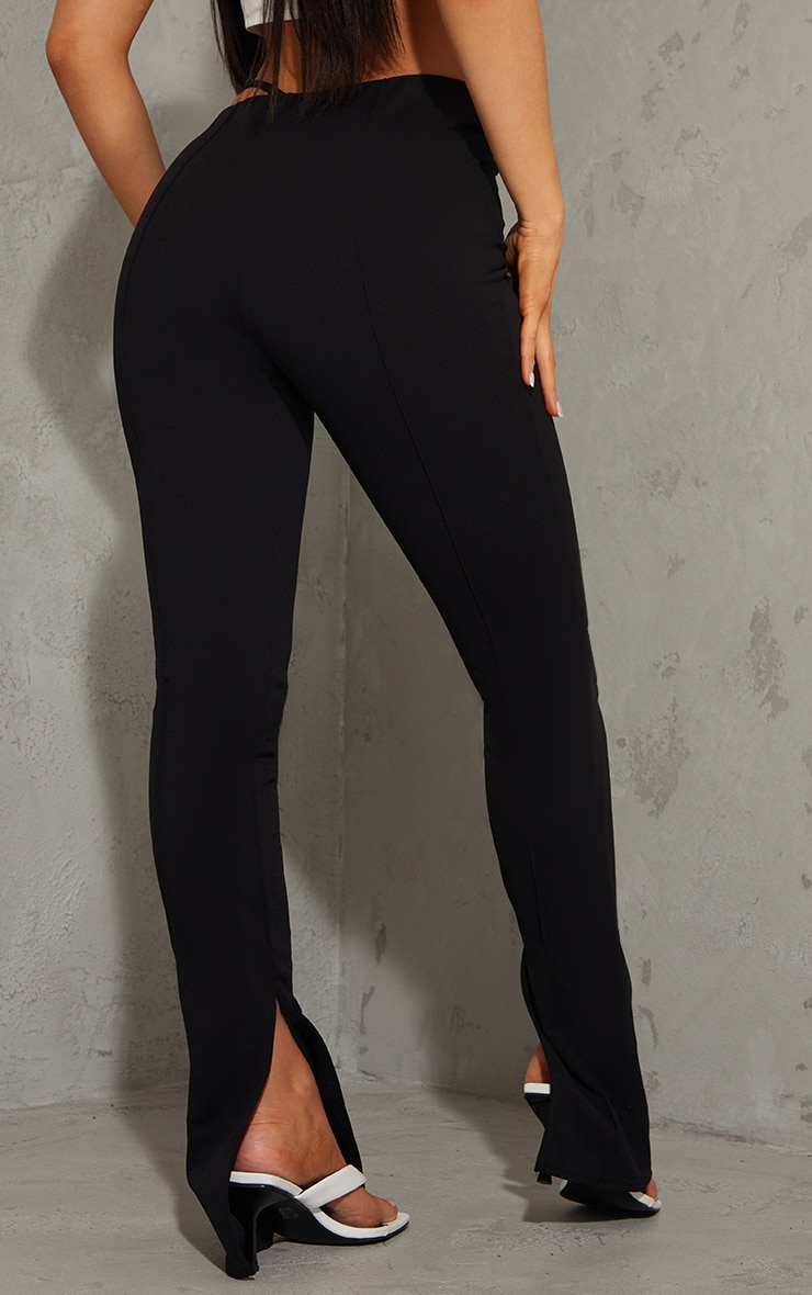 Black Contrast Stitch Cut Out Skinny Trousers 3
