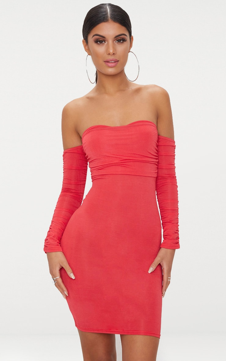 Red Ruched Front Ruched Arm Bardot Bodycon Dress 1