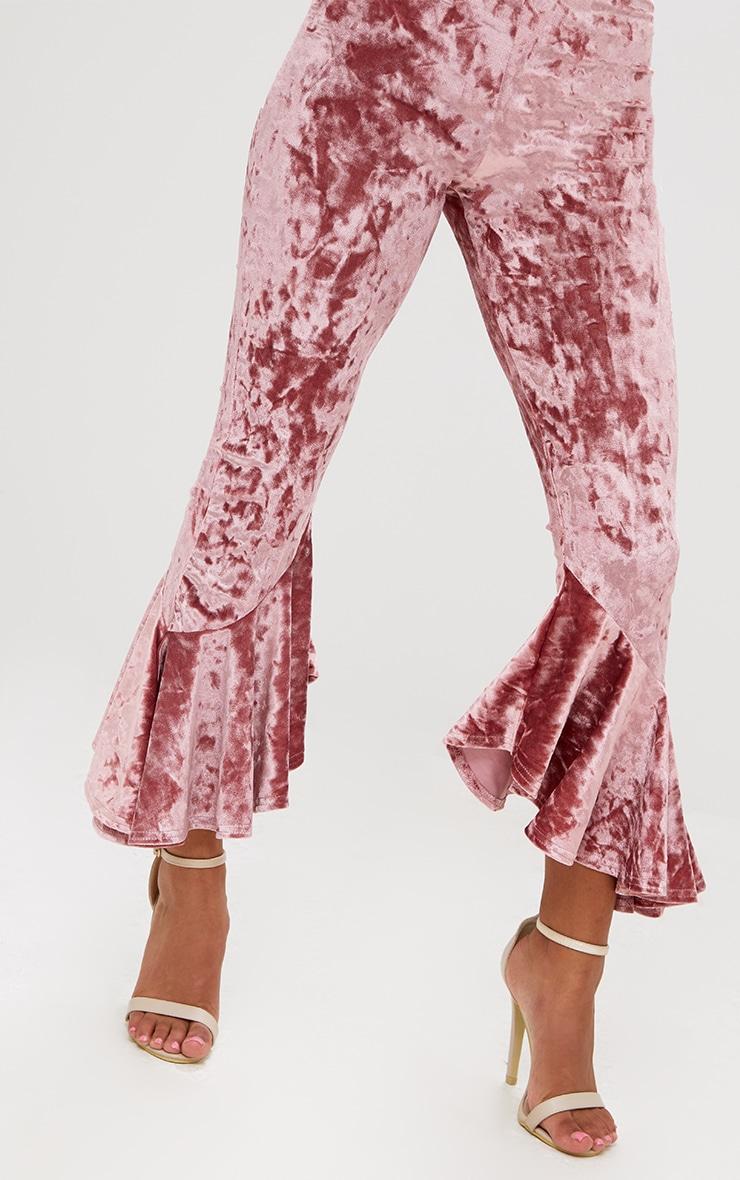Petite Rose Velvet Flare Hem Trousers 5
