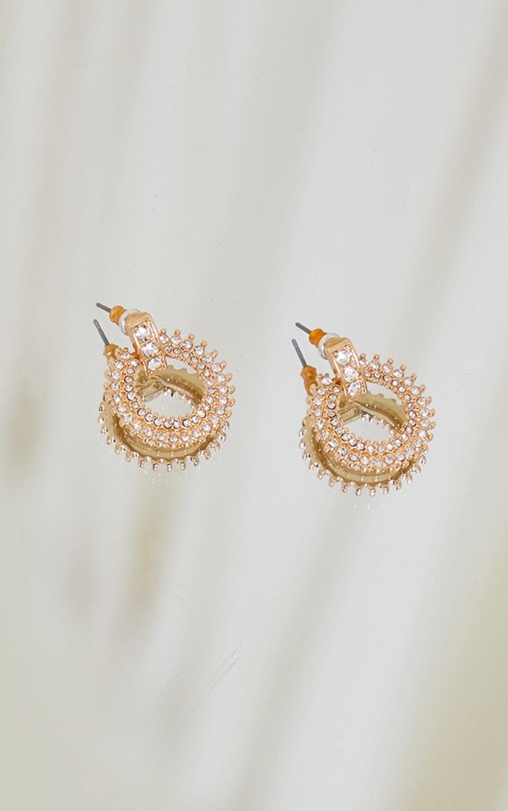 Gold Enrcusted Diamante Door Knocker Earrings 3