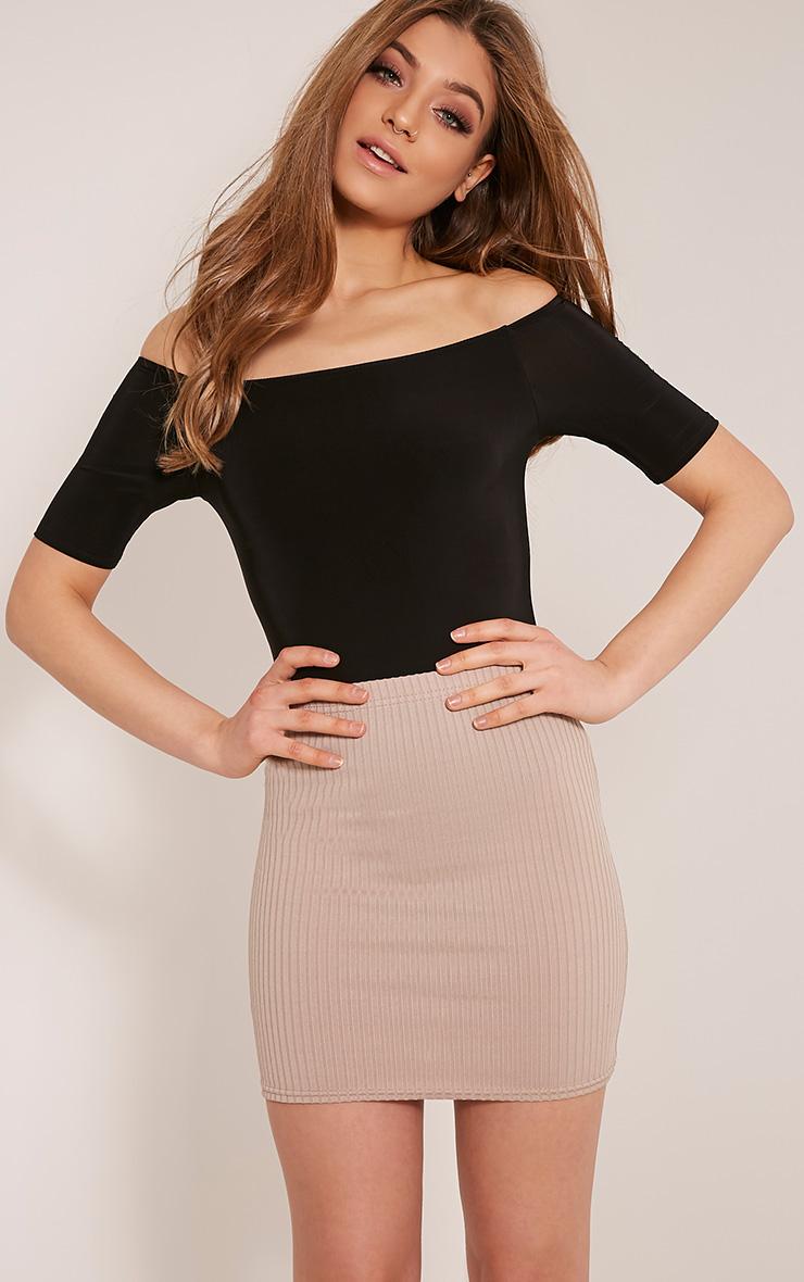 Rosalyn Black Slinky Short Sleeved Bardot Bodysuit 1