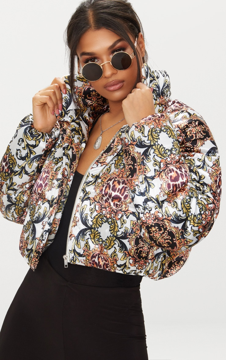 Animal Scarf Printed Satin Puffer Jacket 1