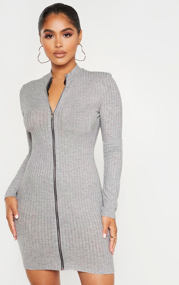 Petite Grey Marl Zip Up Long Sleeve Mini Dress 1