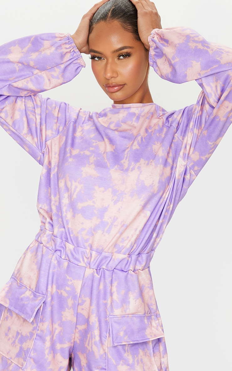 Purple Tie Dye Sweat Long Sleeve Pocket Playsuit 4