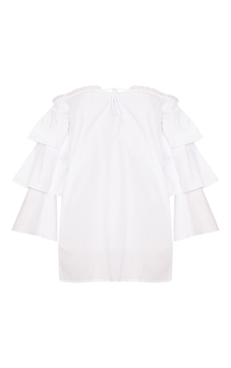 White Bardot Tiered Sleeve Shift Dress 3