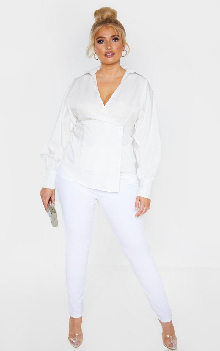 Plus White Woven Button Detail Puff Sleeve Blouse  4