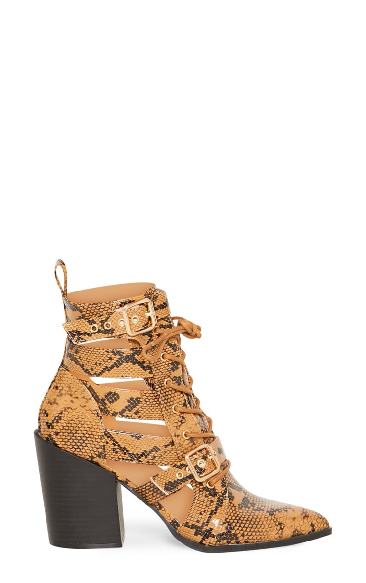 Tan Snake Print Cut Out Heeled Boots 3