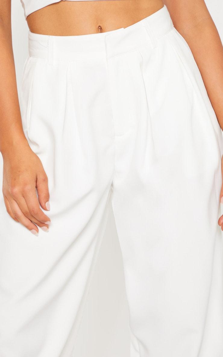 White Woven High Waisted Balloon Leg Pants 5