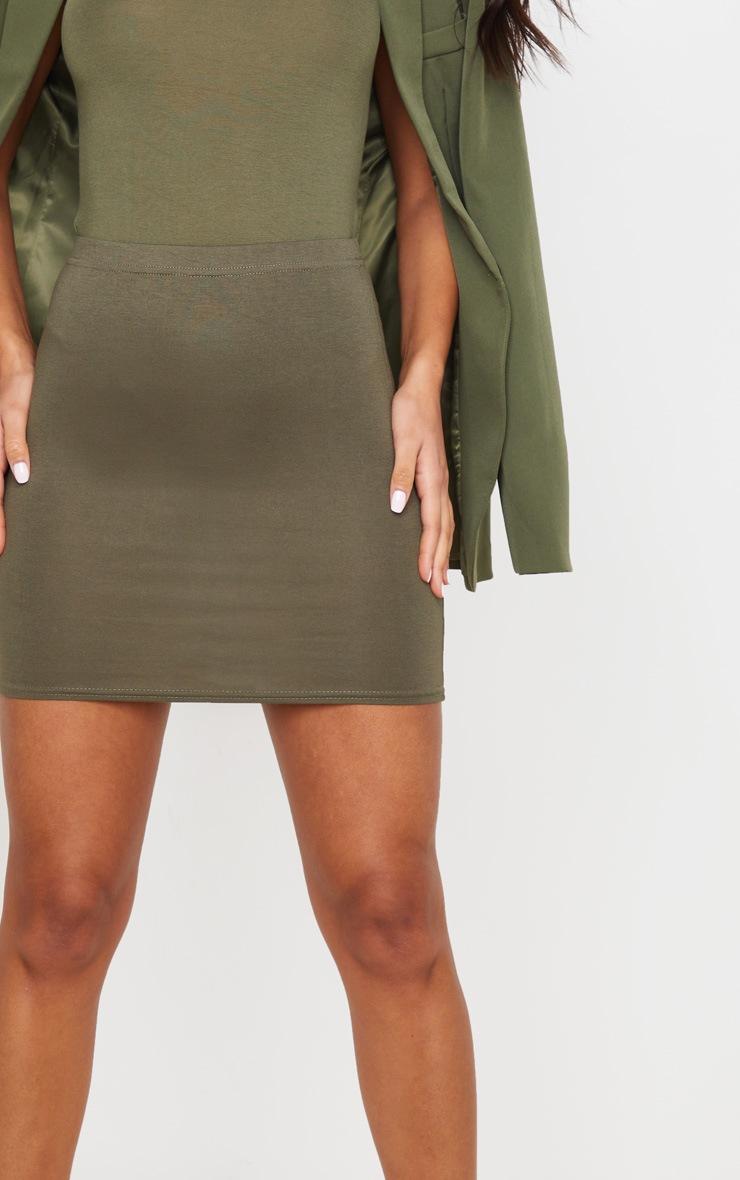 Basic Khaki Jersey Mini Skirt 5