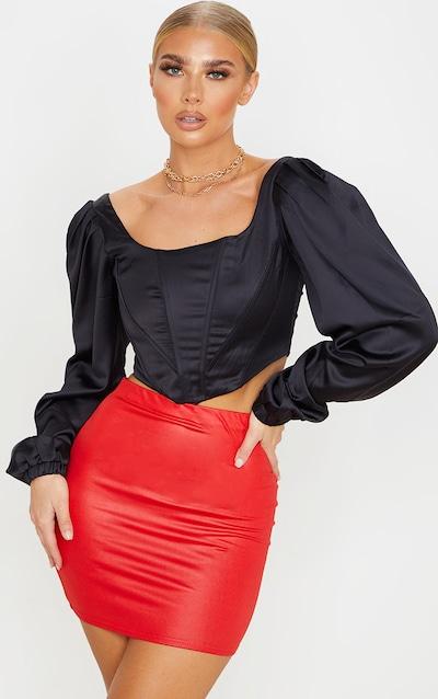 Red Wet Look Mini Skirt