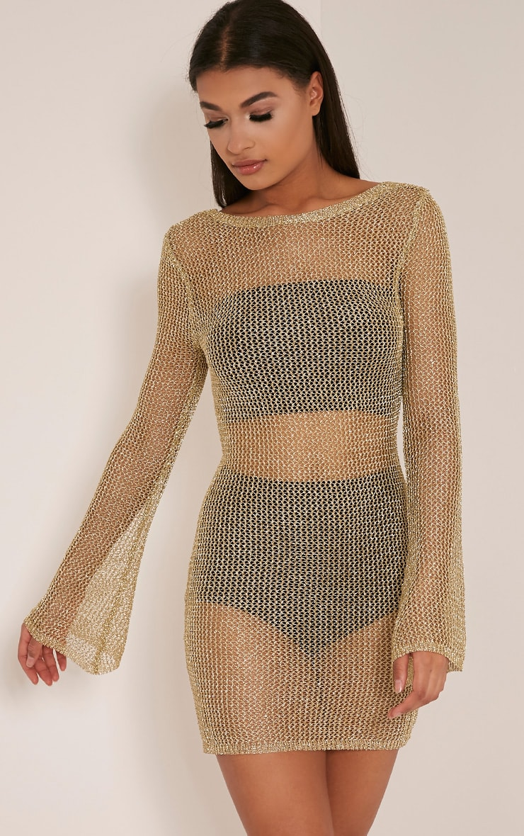 Eshe Gold Metallic Knitted Mini Dress 2