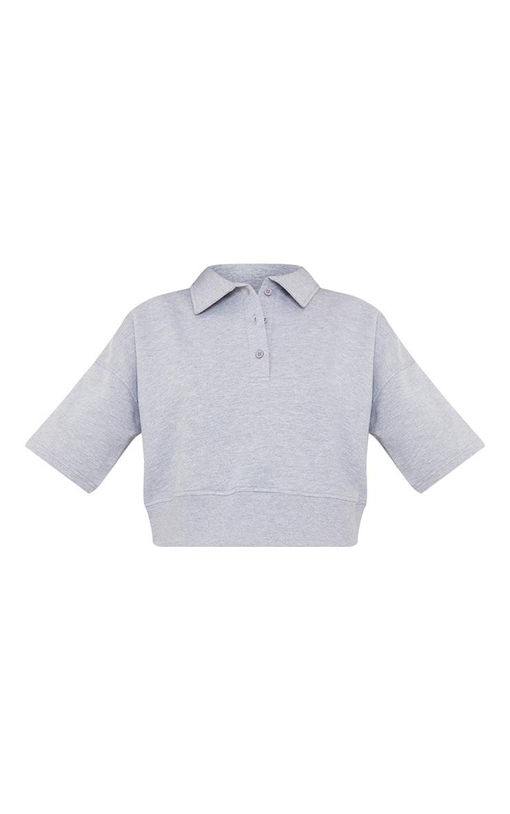 Grey Button Front Short Sleeve Crop Polo Shirt 5