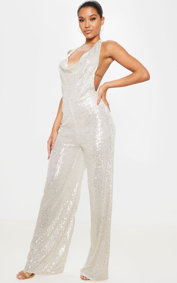 Silver Sequin Cowl Neck Wide Leg Jumpsuit 4