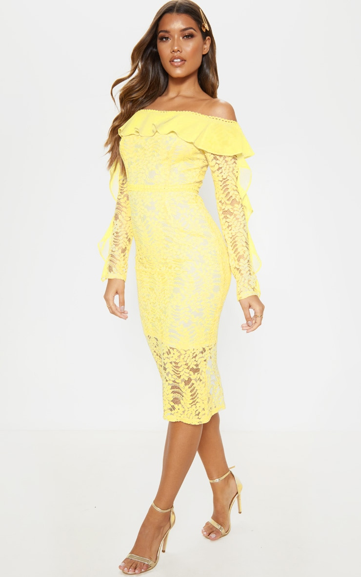 Lemon Bardot Lace Frill Sleeve Midi Dress 4