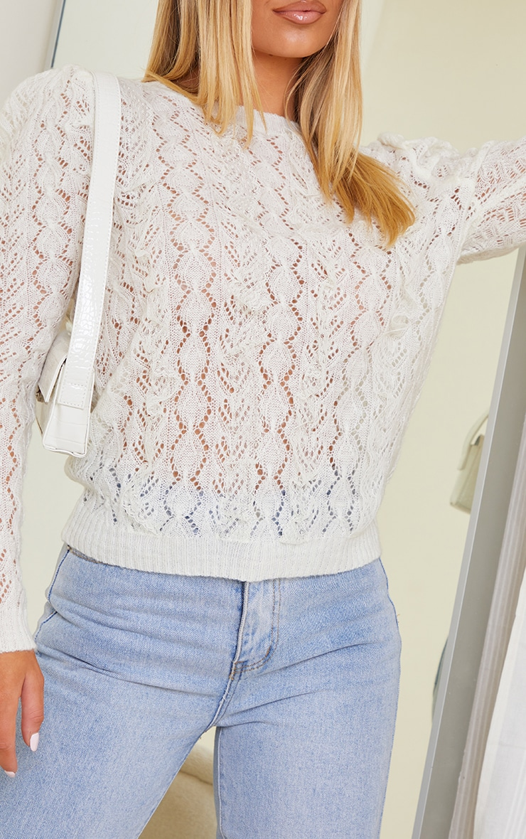 White All Over Pointelle Knitted Sweater 4