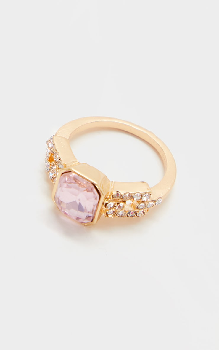Gold Large Pink Stone Silver Diamante Ring 2
