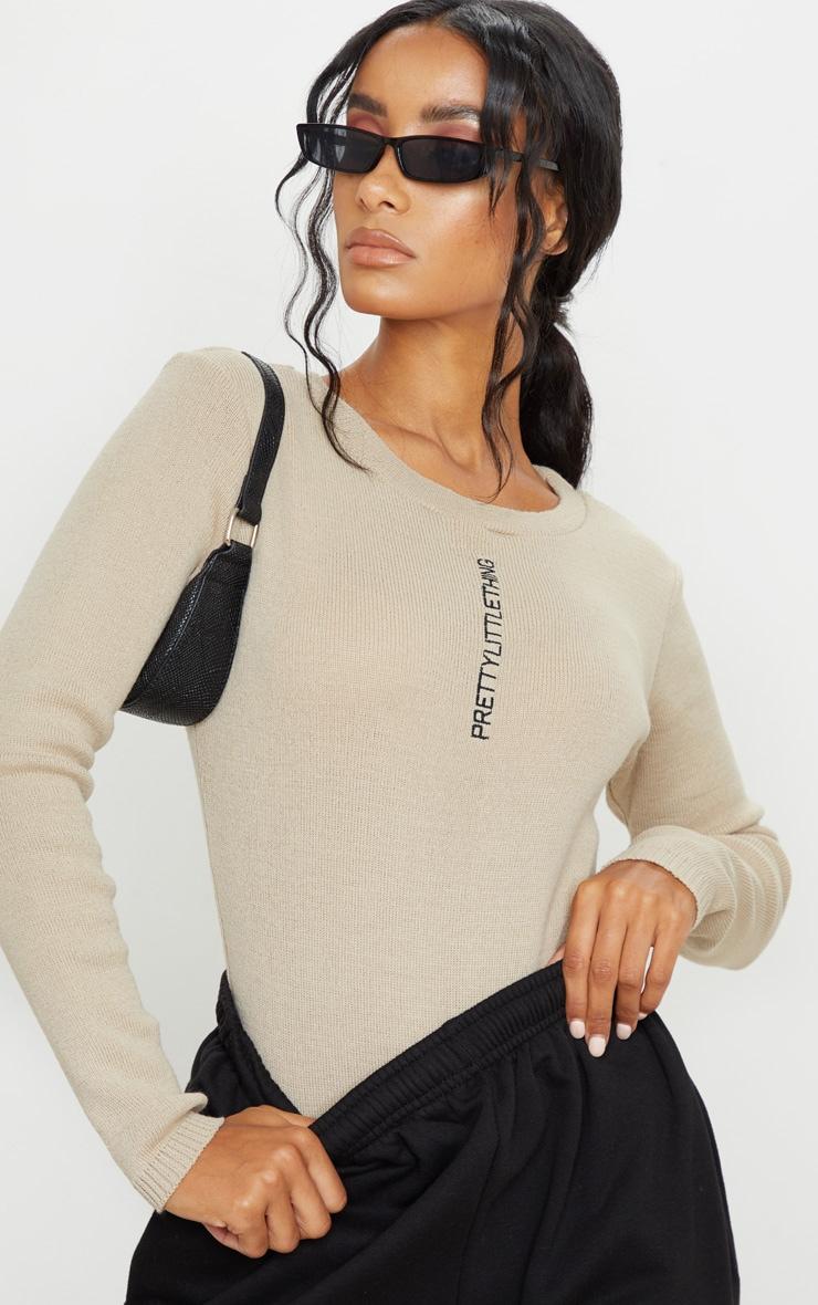 PRETTYLITTLETHING Stone Knitted Bodysuit 1