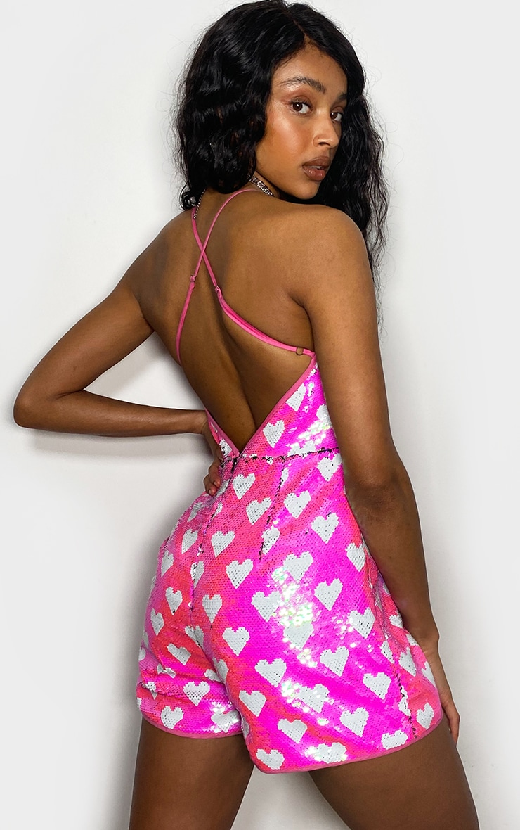Pink Irridescent Heart Sequin Strappy Romper 2