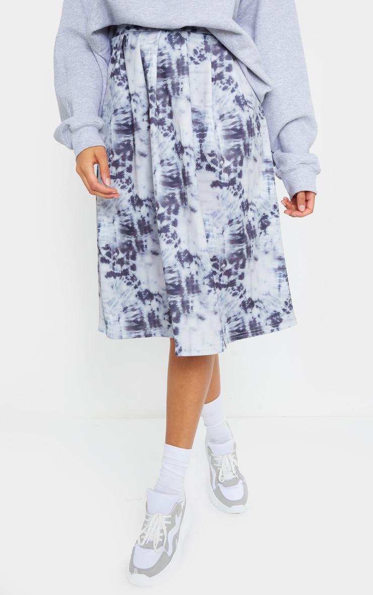 Blue Tie Dye Print Pleated Midi Skirt 2