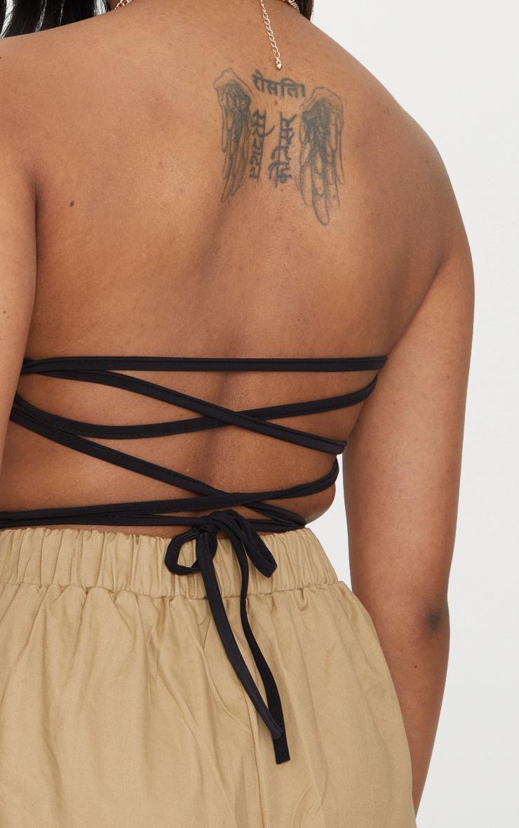 Petite  Black Slinky Tie Back Crop Top 5