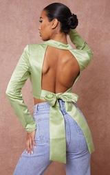 Pistachio Satin Cropped Tie Back Long Sleeve Crop Top 1