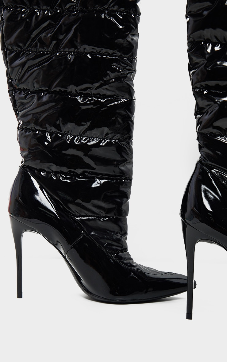 Black Quilted High Shine Knee Boot 4