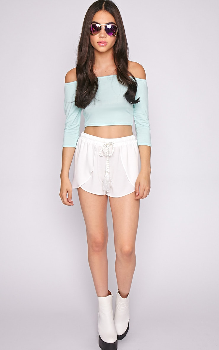 Joy Mint Bardot Crop Top  3