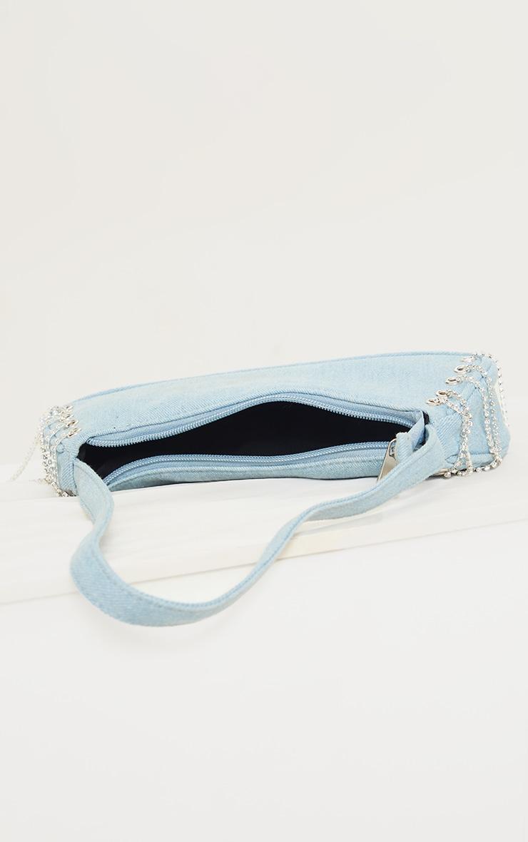 Blue Denim Diamante Lace Up Shoulder Bag 4