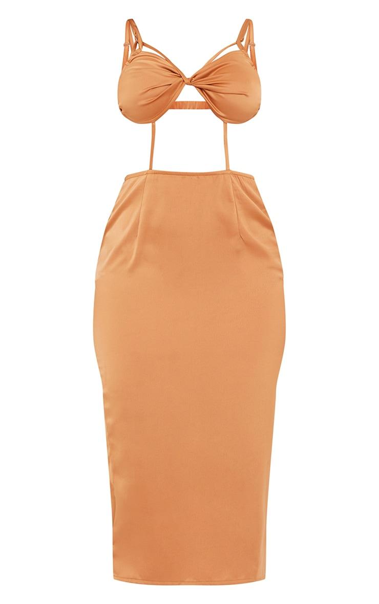 Chocolate Strappy Bralette Detail Cut Out Midi Dress 5